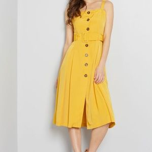 Modcloth Yellow Thrilling Brilliance Belted Dress